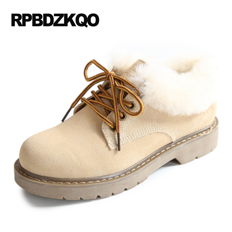 все цены на Booties Shoes 2017 Lace Up Winter Snow Fur Work Round Toe Faux Women Ankle Boots 2016 Chunky Beige Chinese Fashion Ladies Short