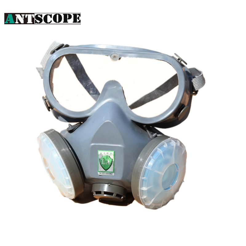 Working Dual Filter Dust Spray Paint Industrial Chemical Gas Respirator Mask Glasses Set Blue half Mask Respirators Gas Masks kitmmm6094mmm8200 value kit scotch photo mount spray adhesive mmm6094 and 3m n95 particle respirator 8200 mask mmm8200