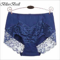 BllooBeell Women's Cotton Underwear Panties Girls Sexy Lace Briefs Hollow Out High Mid-Rise Ladies Lingerie Large Size M-XXXL