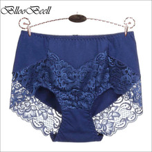 BllooBeell Womens Cotton Underwear Panties Girls Sexy Lace Briefs Hollow Out High Mid-Rise Ladies Lingerie Large Size M-XXXL