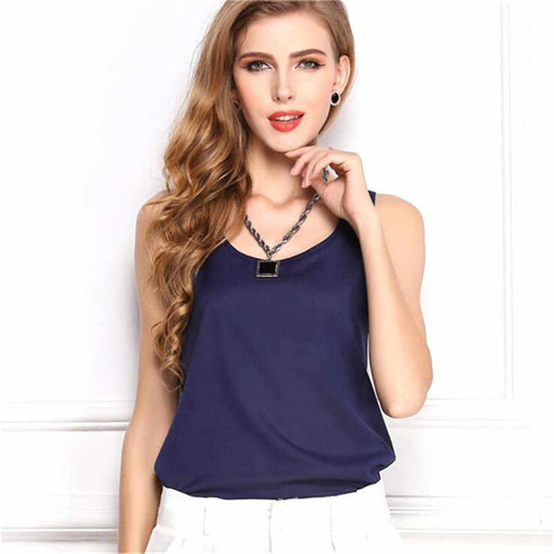 2019 Vest Thin Chiffon Tank Top Women Summer Sleeveless Shirt Sexy Camis Loose Casual Female Tops Blouse Ladies Big Size 3XL