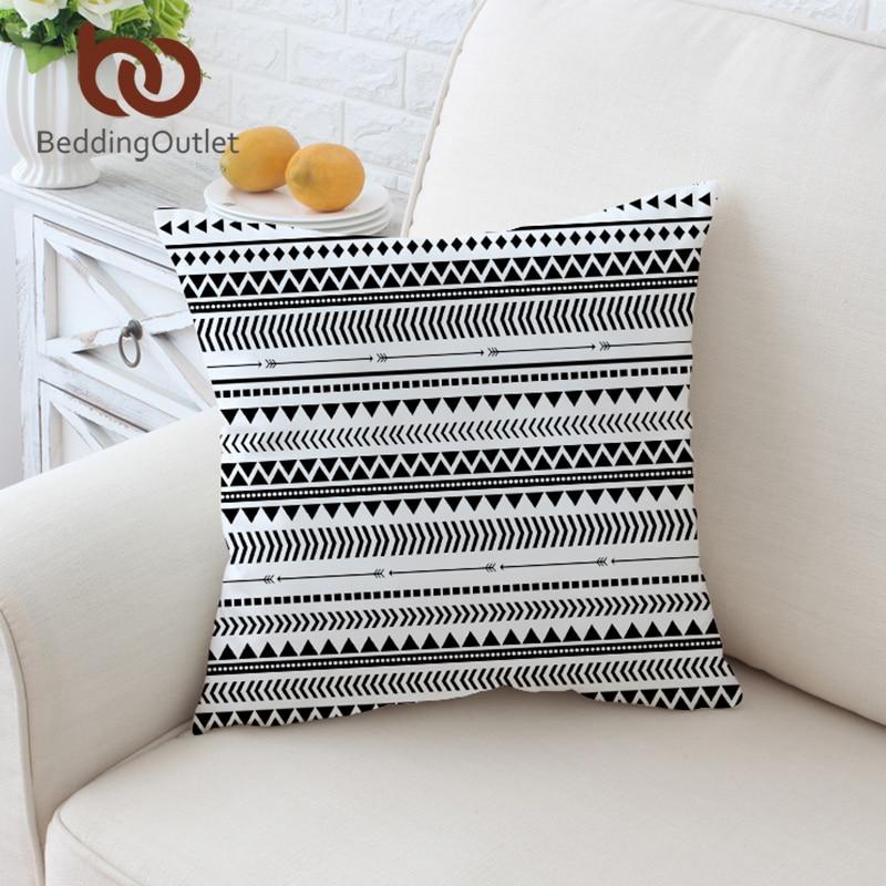 BeddingOutlet Elegant Black White Striped Cushion Cover Modern Chic Reversible Geometric Pillow Case Microfiber Soft Throw Cover