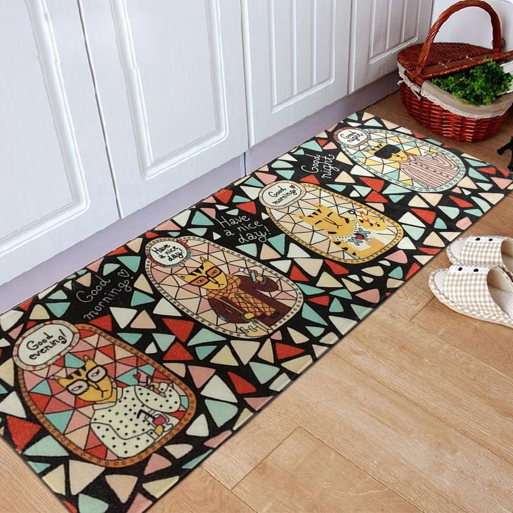 yazi flanella fumetto gatto ingresso zerbino zona cucina tappeto runner camera da letto carpet mat coperta