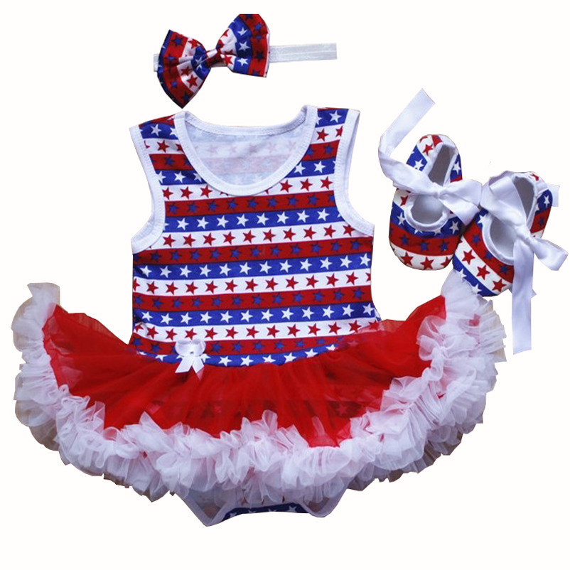 Toddler Girl Cake Dress Shoes Headband Set American Independence Day Newborn Baby Girl Clothes Infant Baby Romper Dresses Sets newborn baby girl clothes cotton 1 year birthday dress short romper dress vestidos toddler shoes socks headband baby clothing