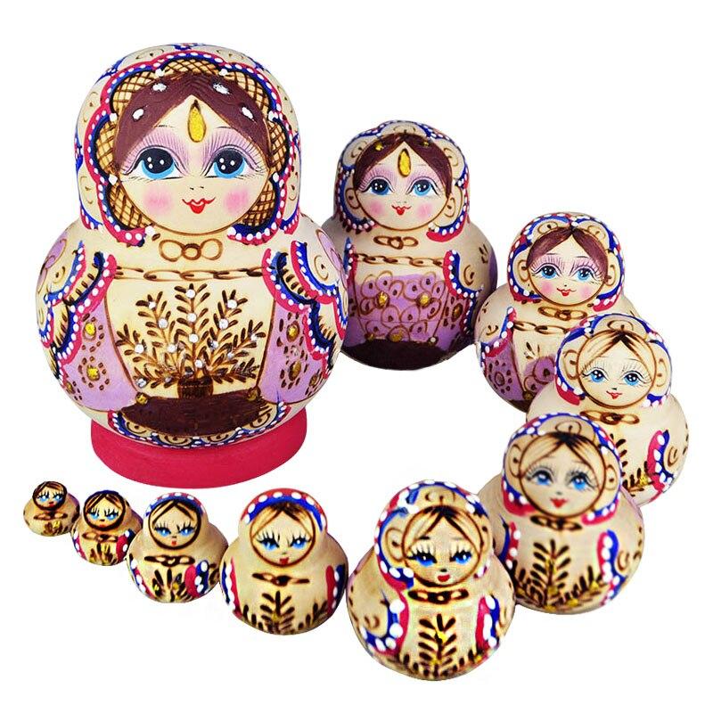 10 Pcs Wooden Babushka Russian Nesting Doll Hand Painted Cartoon Duck