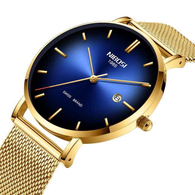 Nibosi 남자 시계 탑 럭셔리 울트라 얇은 날짜 시계 남성 블루 스틸 메쉬 스트랩 비즈니스 스포츠 석영 손목 시계 남성 시계