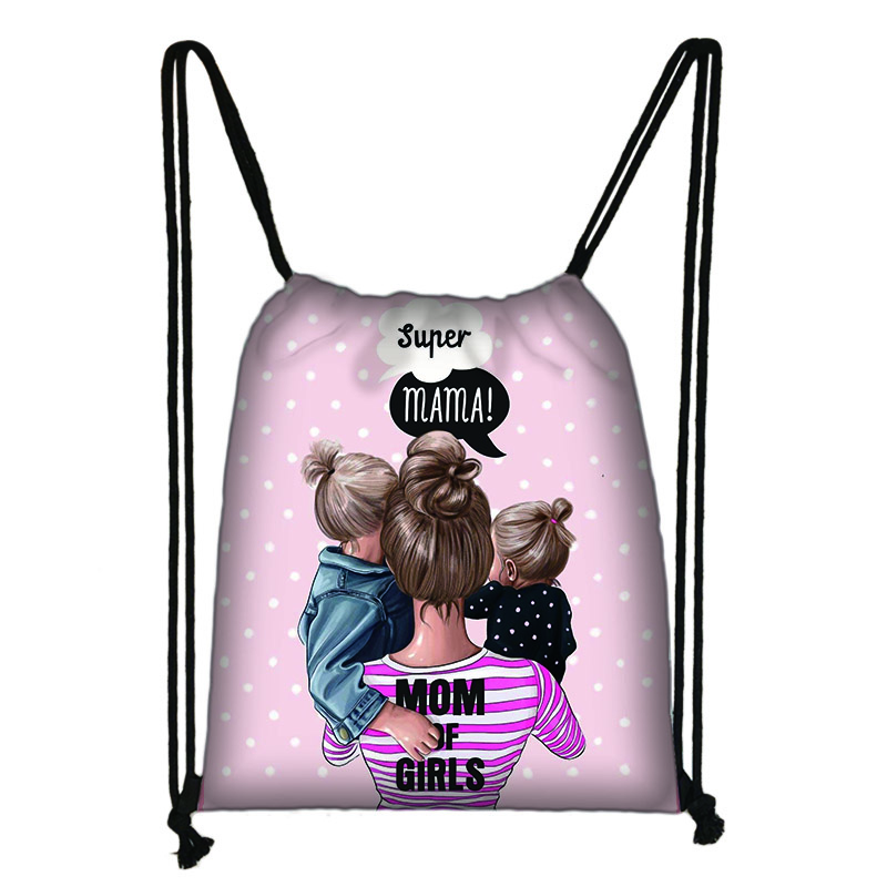 Cute Super Mama Print Drawstring Bag Women Storage Bag For Travelling Princess Girls Casual Backpack