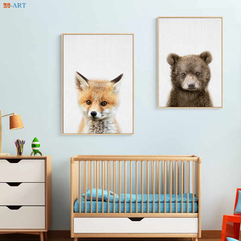 Baby Fox Beer Prints Woodlands Nursery Decor Wall Art Animal Poster Minimalist Canvas Painting For Kids Room Home Framed