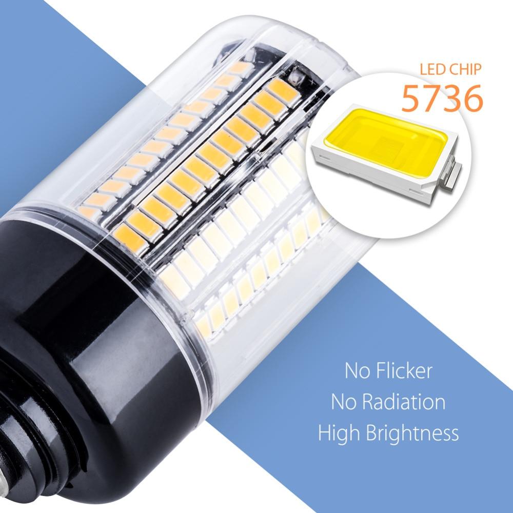 Купить с кэшбэком B22 LED Bulbs E14 220V Corn Light Bulb SMD 5736 Bombilla Led E27 High Power Led Lamp 3.5W 5W 7W 9W 12W 15W 20W No Flicker 240V