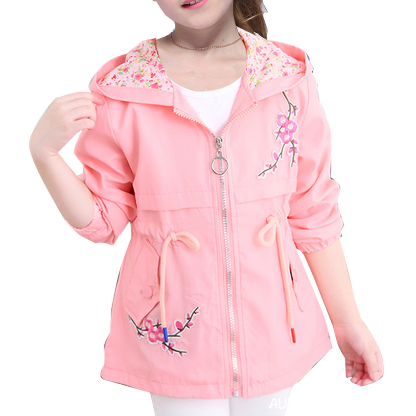 Girls Windbreaker Coat New Cute Flower Hooded Outwear for baby Kids Clothes Children Casual Jackets 6 8 10 12 Years Vestidos