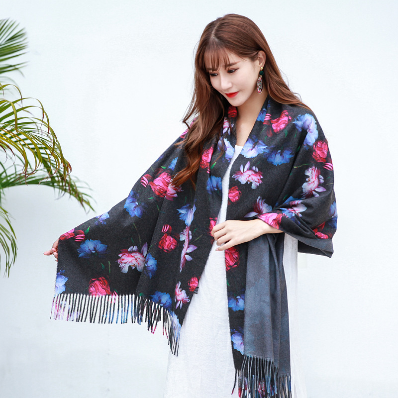 70x190cm Fashion Women Winter Cashmere Long Wraps Flower Printed Scarves Shawl