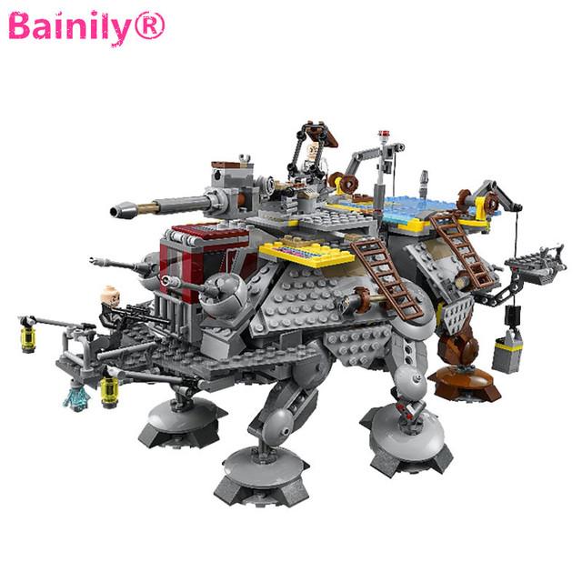 [Bainily] 1022 unids Nueva Starwars Capitán Rex AT-TE Para Caminar Mech Bloques de Construcción de Ladrillo de Juguete Compatible Con Legoe Star Wars Juguetes