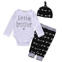 Cute Newborn Baby Boy Clothes Little Brother Romper Pants Leggings Beanie Hat 3pcs Outfits Bebek Giyim