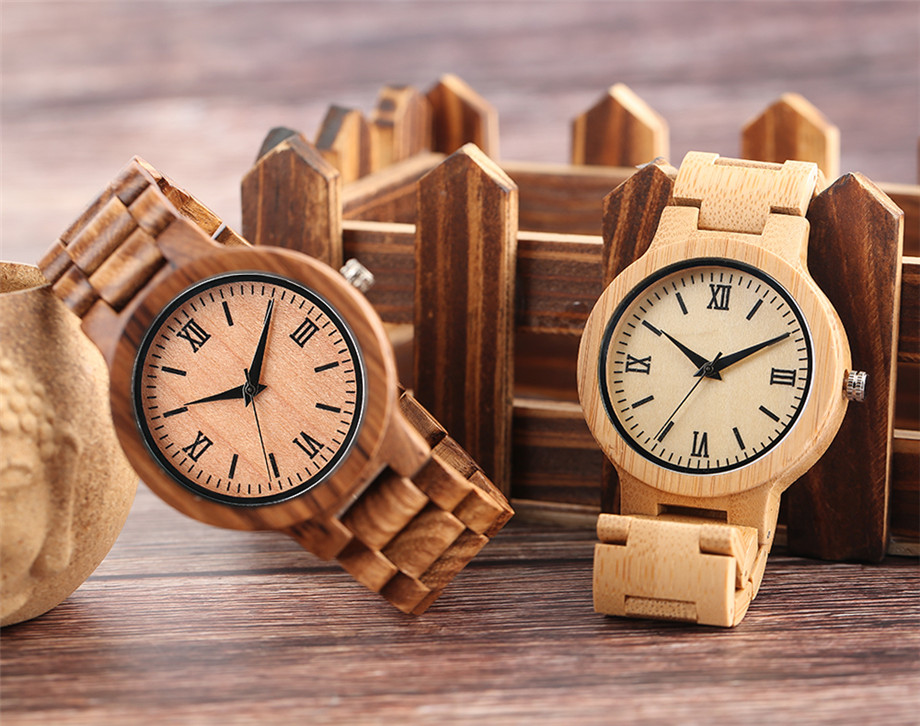 Bamboo zebra wood watch roman numerals dial ladies watch24