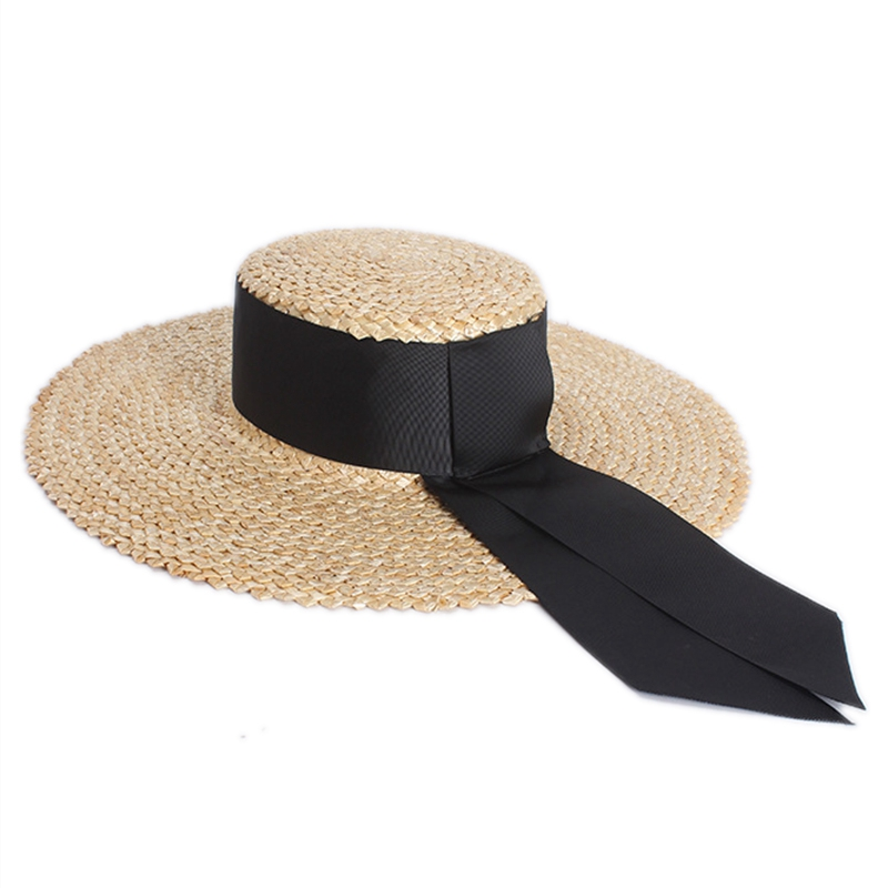 NEW-Women Classical Wheat Straw Hat Summer Cap Large Wide Brim Sun Hat Elegant Floppy Ribbon Beach Hat Vocation Derby Hat
