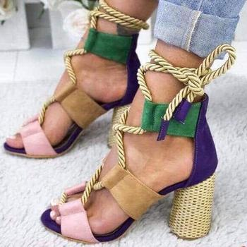2020 New Women Sandals Shoes Celebrity Wearing Mixed Colors Style Clear Colorful Strappy Sandals High Heels Shoes Mid Heel Shoes 3