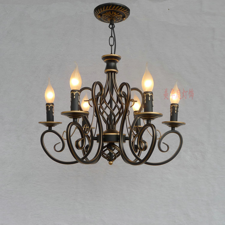 Continental Iron candle chandelier bedroom garden bar restaurant lights retro clothing store America continental iron candle chandelier bedroom garden bar restaurant lights retro clothing store america