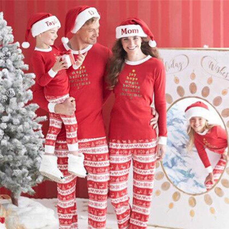 Christmas Womens Pajamas Autumn Winter Lovely Warm Comfortable Long Sleeve Letters Printing Pajamas Sets Female Nightwear X-mas