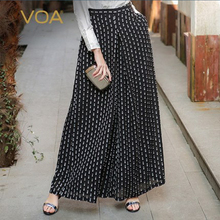 VOA 2017 New Fashion Black On White Wid Leg Pants Vintage Best Design Loose Casual Women Pant k5530