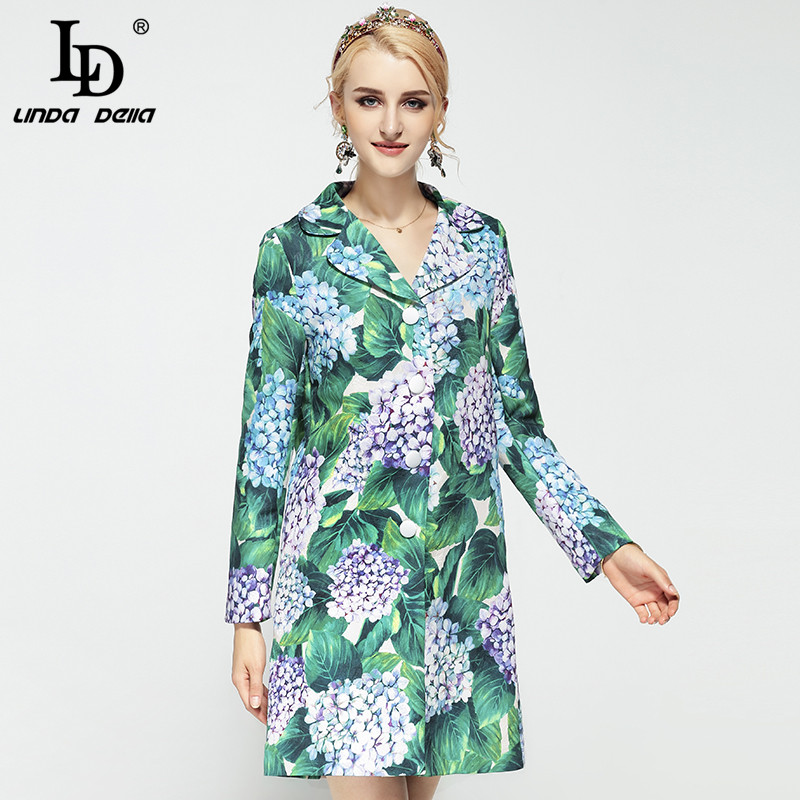 LD LINDA DELLA High Quality Women Winter Coats Long Sleeve Single Breasted Warm Floral Print Casual Green   Trench   Coat