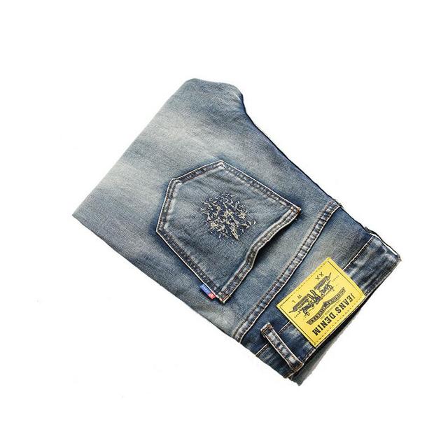 Men's jeans 2017 spring autumn fashion high quality men's jeans casual Slim men straight denim trousers biker hole jeans