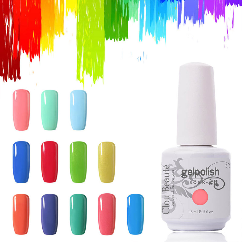 Venta caliente Colores 15 ml Clou Beaute Elija 1 Color Profesional Gel Uñas UV Lámpara Polaco Gel Esmalte Soak Off Lámpara Led Uñas de Gel