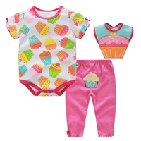 3 Pcs Baby Girl Clothes Set Summer Roupa Infantil Cotton Ice Cream Printed Baby Clothing
