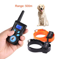 الكلب التدريب الياقة صدمة كهربائية + الاهتزاز + ضوء + كلمة من قيادة جهاز التدريب كلب مدرب بعيد السيطرة 500 متر