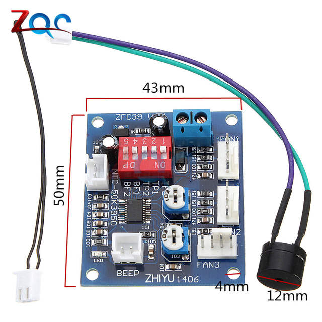 US $2 27 32% OFF DC 12V 5A PWM PC Fan Temperature Manumotive Speed  Controller Module CPU High Temp Alarm With Buzz Probe For Arduino Heat  Sink-in