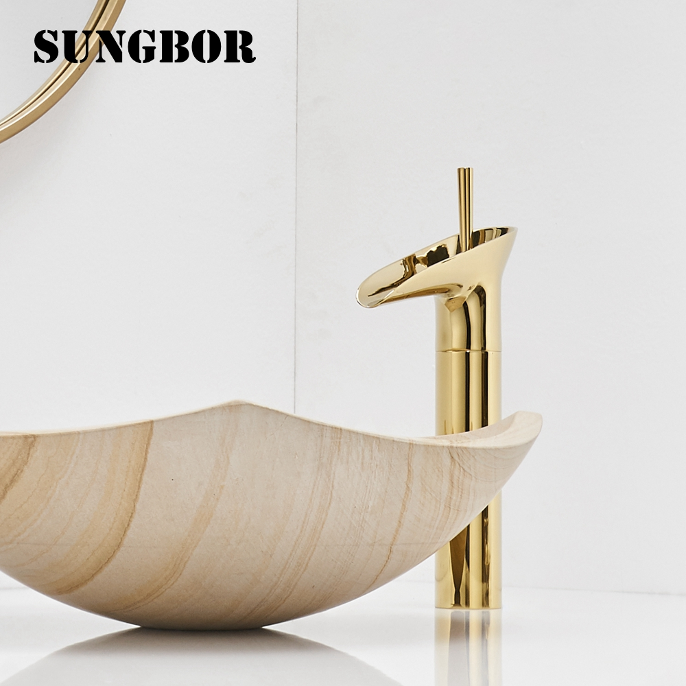 Waterfall Water Basin Faucets Brass Bathroom Faucet Gold Mixer Tap Single Handle Hot Cold Washbasin Tap