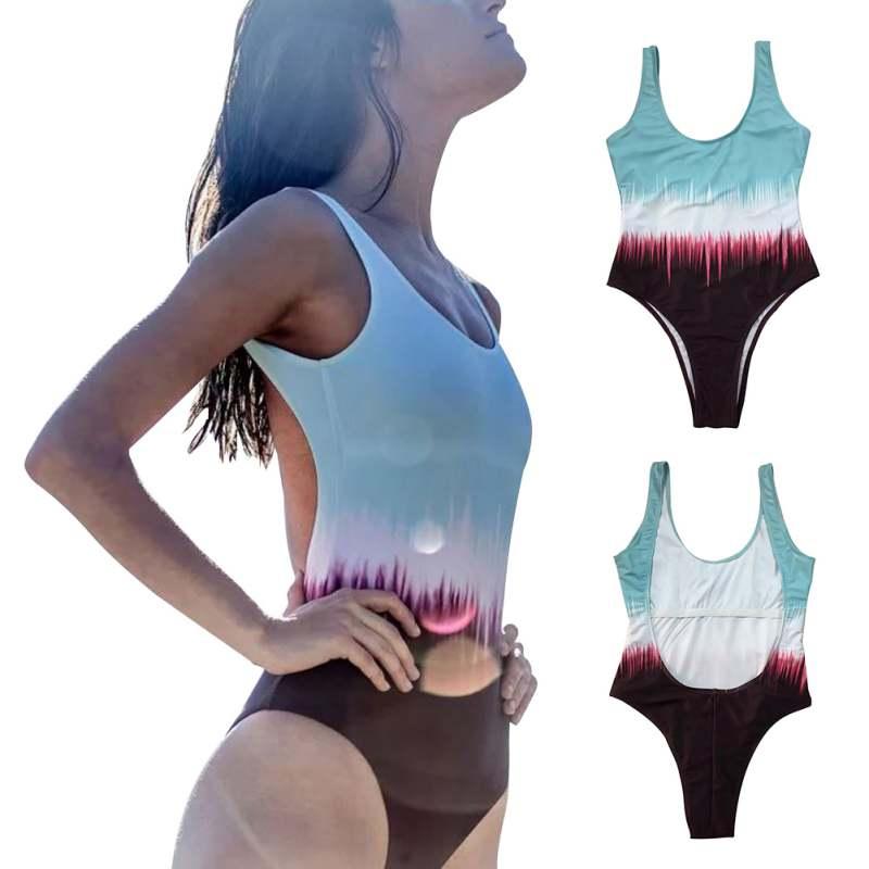 Women Summer Gradient Color Printed Swimsuit Swimwear Backless Bathing Suit Beach Wear One piece Swim Suits