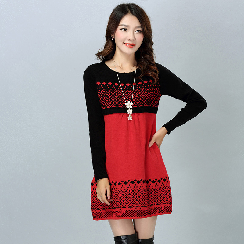 Women Sweater Dress Winter Warm Pullover Causal Slim Patchwork O-neck Empire Full Sleeve Knitted Dresses