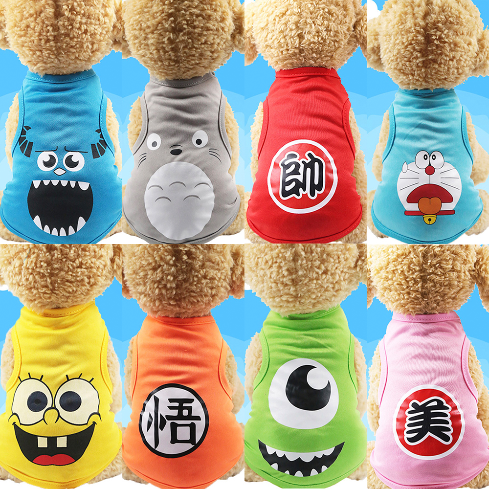 Cat T-shirt Soft Puppy Dogs Clothes Cute Pet Dog Cartoon Clothing Summer Shirt Casual Vests For Small XS-XXL