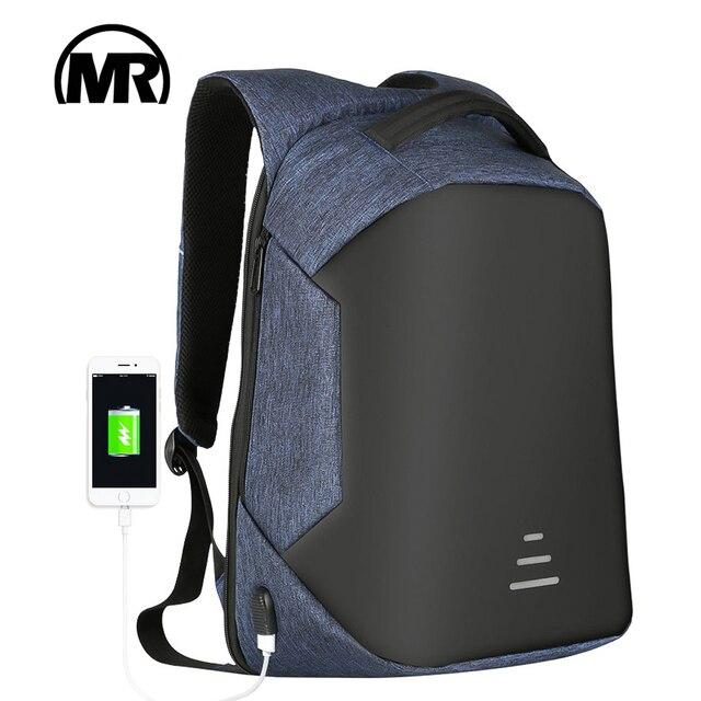 MARKROYAL Anti-theft Men Backpack For 15.6 Inch Laptop External USB School Rucksack Bag Large Capacity Urban Waterproof Mochila