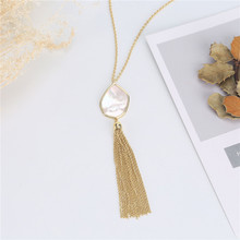2019 Mother of Pearl Shell Long Tassel Pendant Necklaces for women Trendy shell necklace women necklaces pendants цена 2017