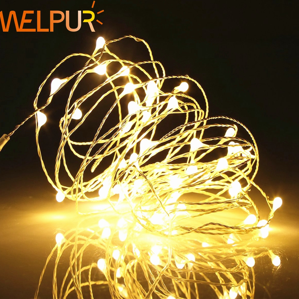 String light LED Holiday lighting Copper Silver Wire Battery 1m-10m  Fairy Christmas Garland Wedding Party Decoration Outdoor agm 10m copper wire led string light garland 100led battery fairy light for christmas new year home decoration festival decor