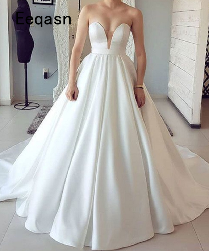 Ball Gown Wedding Dress 2020 Off Shoulder Princess Arabic Bride Bridal Dress Gown Court Train Casamento Robe De Mariage