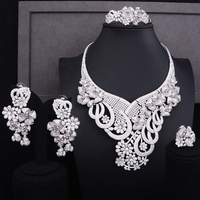 GODKI Super Luxury Flower Cluster Women Bridal Cubic Zirconia Ring Bangle Necklace Earring Dubai Jewelry Set Jewellery Addict