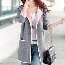 New Autumn Winter Women Coat Plus Size Fashion Casual Contrast Color Turn-Down Collar Open Stitch Kn