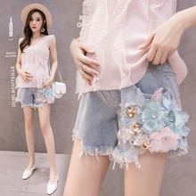 Summer Casual Stomach Lift Denim Maternity Shorts Three-dimensional Embroidery Jeans Short Pants For Pregnant Women Clothing цена и фото