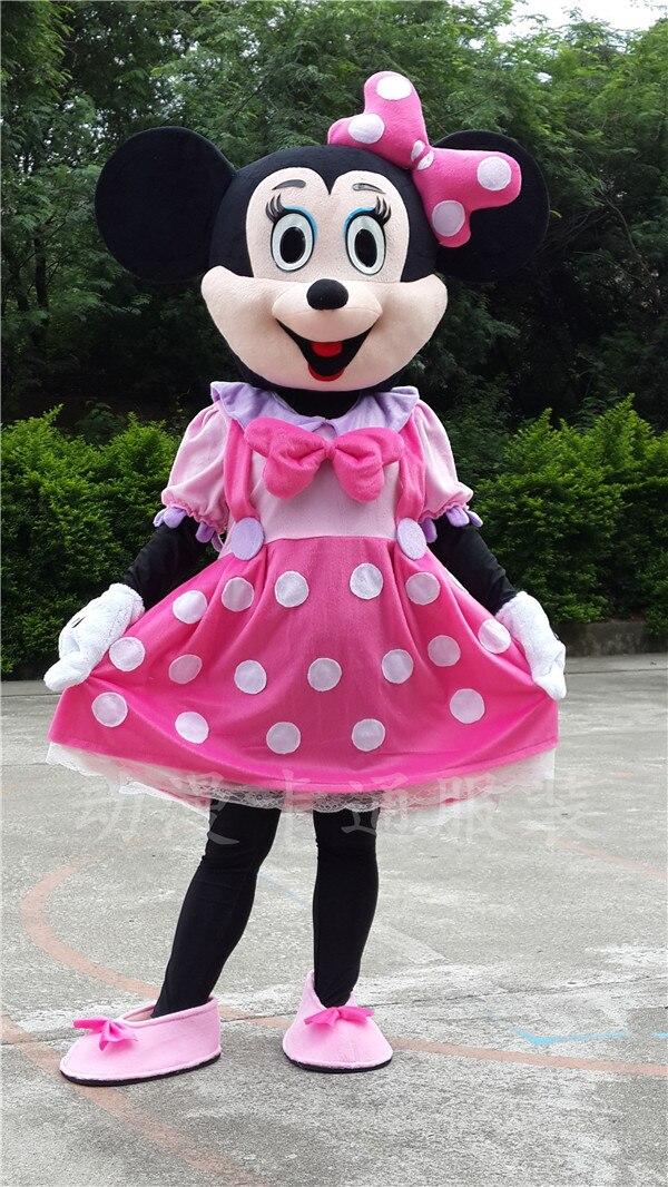 Rosa Minnie Mouse adulto tamanho dos desenhos animados trajes da mascote para crianças de
