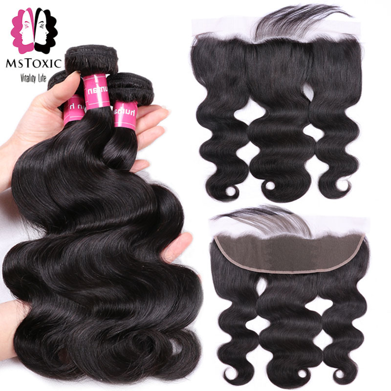 Mstoxic Body Wave Bundles With Frontal Closure Lace Frontal With Bundles Non Remy Brazilian Human Hair
