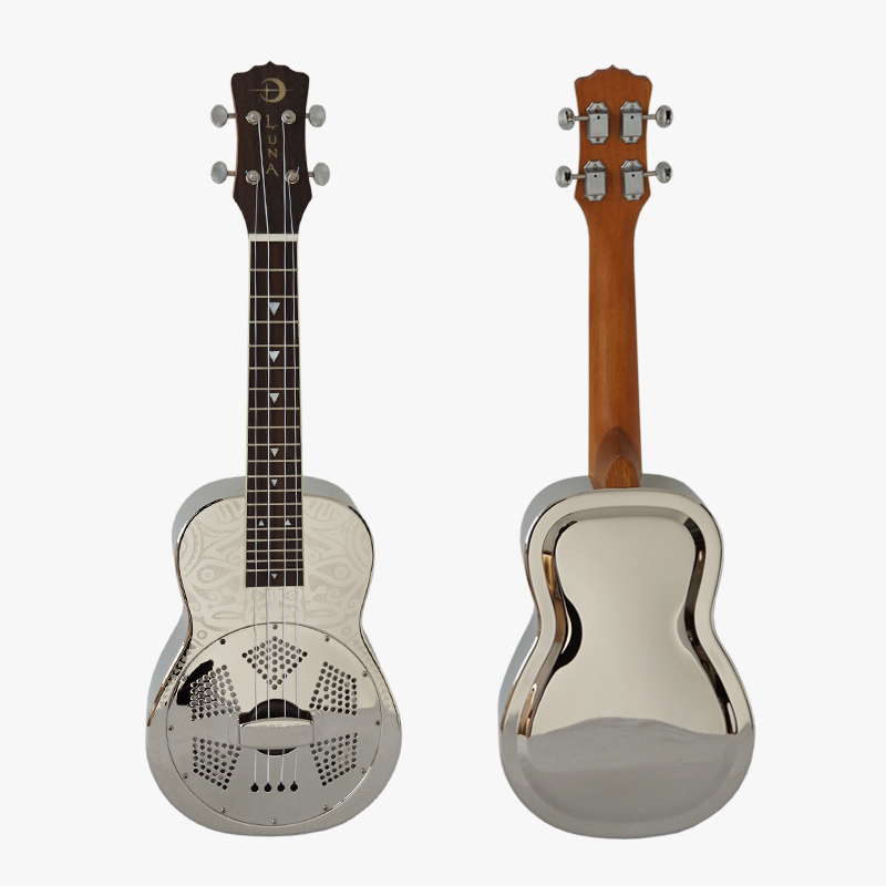 Clearance 100% New Condition Custom 24 Inch Concert Luna Tiki Resonator Ukulele  Free Case