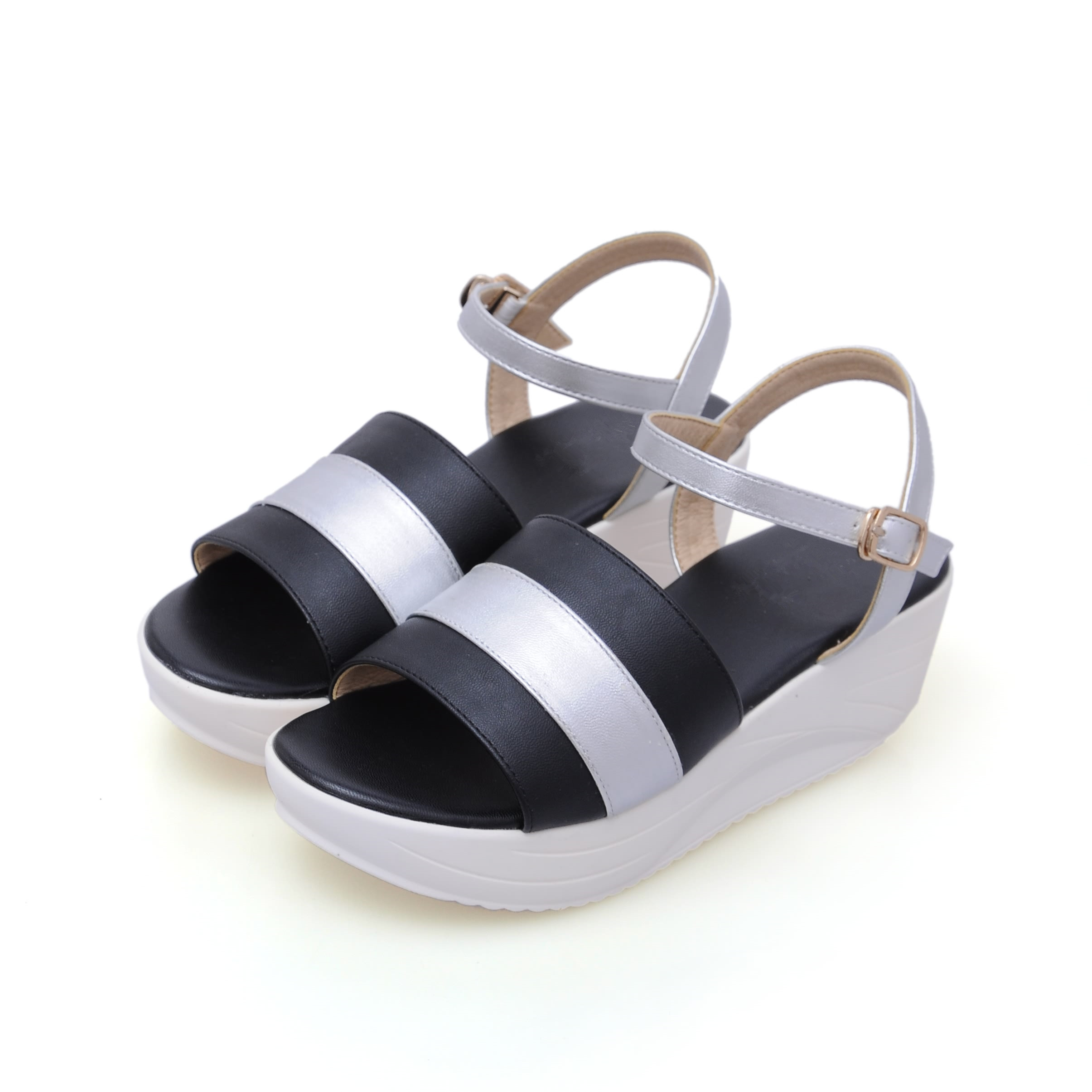 Comfortable Genuine Leather New Fashion Summer Shoes Women Wedges Sandals High Heels Casual Mixed Color Sandal Shoes SMYBK-57