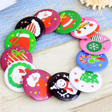 New Cartoon Childrens Gifts Brooch Charm Fashion Cute Christmas Decoration Tinplate Round Party Home Ornaments