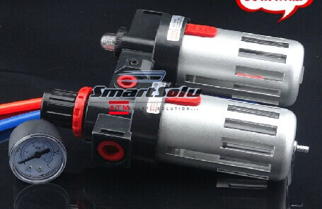 Free Shipping 2PCS/Lot BFC2000 Adjustable Pressure Air Source Treatment Unit, air filter regulators for air compressor system 13mm male thread pressure relief valve for air compressor