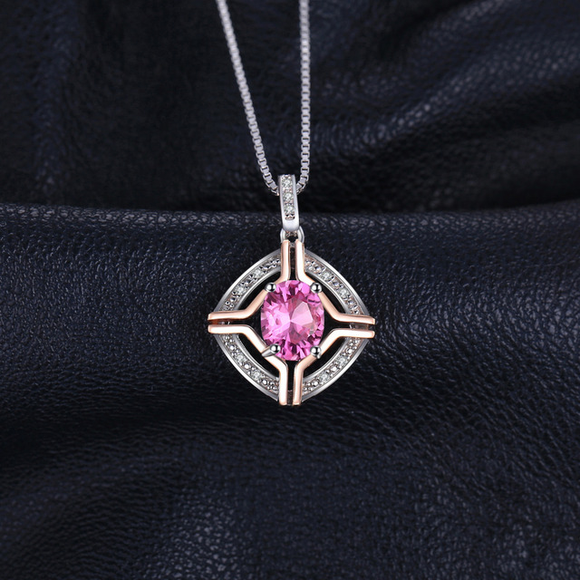 Silver Jewelry Set PINK TOPAZ Ring Pendant Necklace Earrings