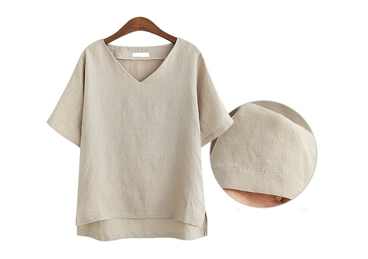 Summer Women Fashion V Neck Loose Blouse Casual Office Cotton And Linen Shirt Solid Short Sleeve Basic Plus Size Blouses 3
