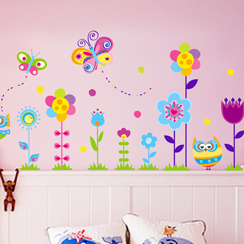 DIY Kindergarten child room decorates a wall cute owl flower wall stickers in the household adornment wall to stick on the wall