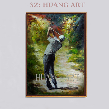 Character movement hand made Brand painting Playing golf New Figures pop art on canvas good for decorate house